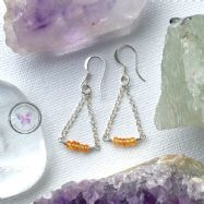 Natural Yellow Sapphire Silver Chain Earrings